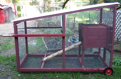 Chicken tractor made with repurposed crate for the nesting area