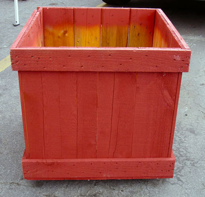 Garden box planter made from a repurposed shipping crate
