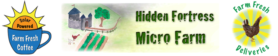 Here is the logo for the Hidden Fortress Micro Farm. It is a painting of a fairy tale-like farm with chickens in front, and the name of the farm in large, stylized text.