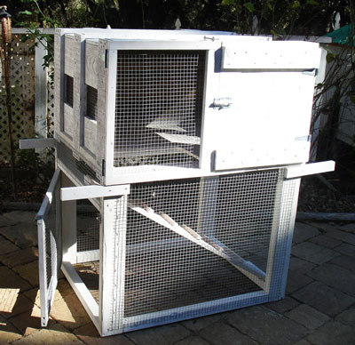 Double decker chicken tractor made with repurposed shipping crate