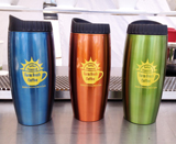 Stainless steel travel mug with solar powered logo